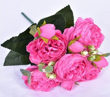5 Big Heads 29cm Rose Pink Artificial Flower For Home Decor
