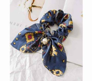 Chiffon Floral Women Hair Elastic Hairband With Imitation Pearl