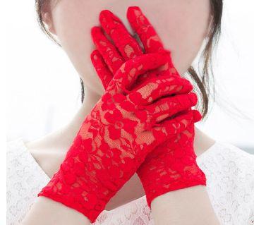 Ladies Summer Lace Breathable Thin Elastic Full Finger Elegant Etiquette Sunscreen Gloves