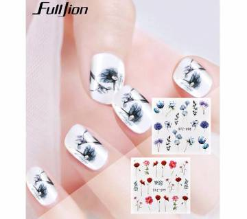 24Pcs Nail Art Stickers Watercolor Flower Butterfly Water Decals Mixed Design Transfer Slider Sticker Nail Decorations