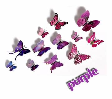 Magnetic+Glue 12pcs 3D PVC Butterfly Decal Wall Stickers Home Decor