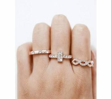3Pcs/Set  Crystal Rose Gold Stackable Finger Rings For Women