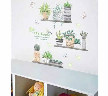 Garden Plant Bonsai Flower Butterfly Wall Stickers For Home Decor Living Room Kitchen