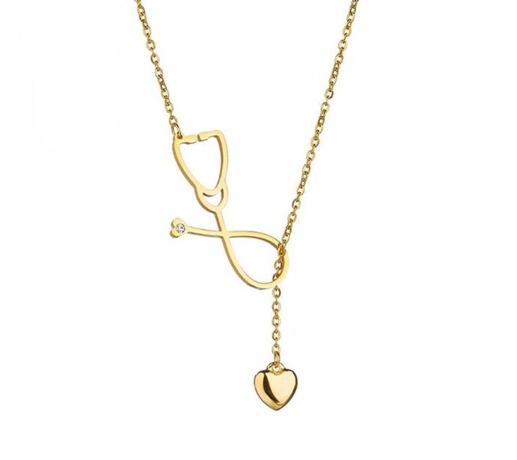 Heart Stethoscope Pendant Stainless Steel নেকলেস ফর উইমেন বাংলাদেশ - 1127696