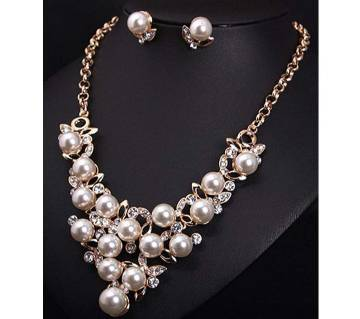 Crystal Pearl Necklace Earrings Jewelry Sets