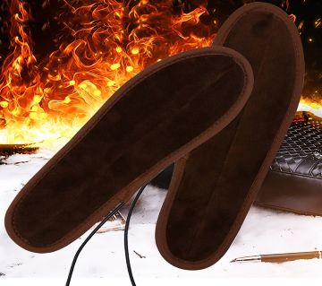 1 Pair USB Heated Shoe Comfortable Soft Lint Electric Heated Shoe Insoles
