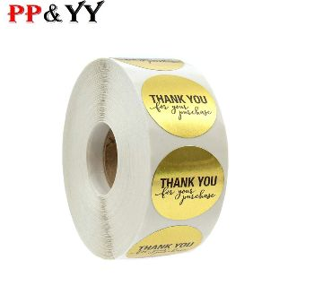 500pcs/roll Round Foil Gold Thank You for your purchase Stickers seal labels for gift Packaging stationery sticker