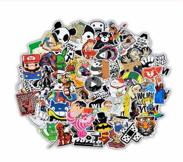 50 pcs Mixed Cartoon Stickers for Car Styling Bike Motorcycle Phone Laptop