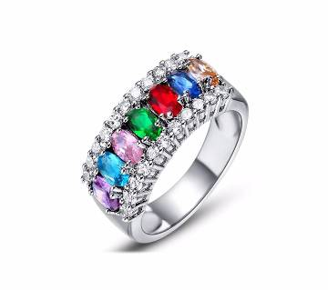 Mystic Rainbow Cubic Zirconia  Silver Ring For Women