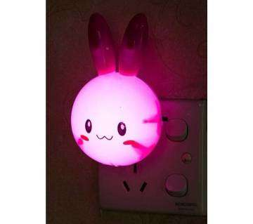 1Pcs Rabbit Switch US Plug  LED Night Light-Pink