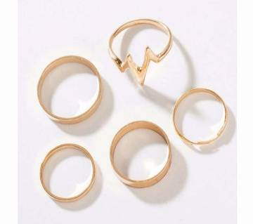 Gold Color Rings For Women-5 piece Set