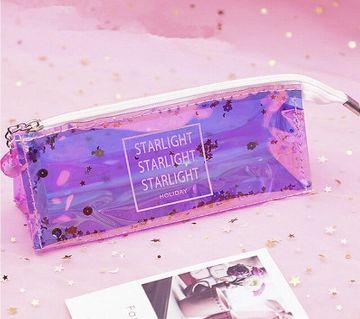 1PC Kawaii Quicksand Transparent Colorful Pencil Bag Box