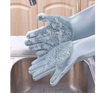 1 Pair Silicone Dishwashing Scrubber Dish Washing Sponge Rubber Scrub Gloves Kitchen Cleaning
