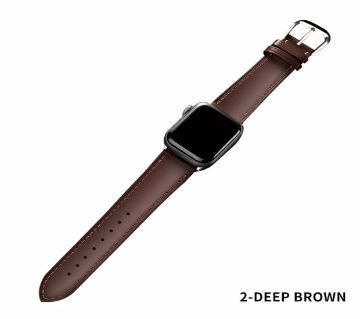 44mm/42mm Brown Leather  Strap For Apple Watch series 4 3 2 1