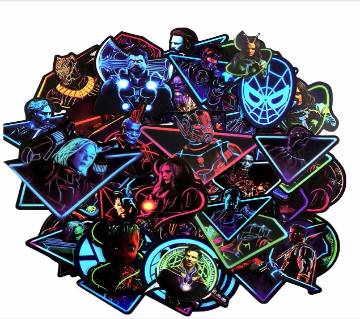 47Pcs Neon MARVEL Super Hero Stickers For Motorcycle Laptop Skateboard