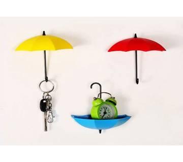 3Pcs Colorful Umbrella Wall Hook Key Hair Pin Holder Organizer