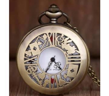 Bronze Quartz Pocket Watch Alice in Wonderland Long Chain