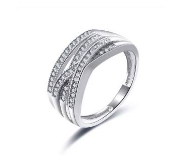 Simple Cubic Zircon Silver Shiny Color Rings For Women