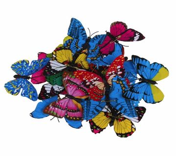 Multi Size 3D Artificial Butterfly Pin Clip Double Wing for Home  Decoration-12pcs
