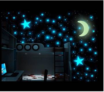 50pcs Stars Moon Glowing In The Dark Sticker Lighting in Night Art Stickers Home Decoration