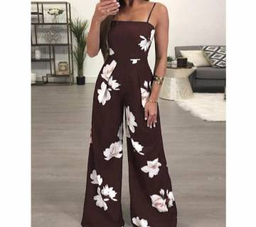 Women Floral Backless Sleevelss Summer Jumpsuit Romper