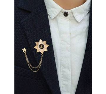 Unisex Trendy Star Crown Chains Tassel Brooch Pin
