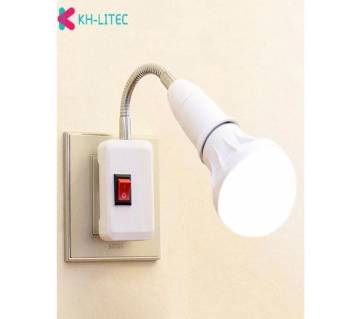 Flexible Extension  Plug Lamp Holder  Adapter Bulb Socket  For Bedroom Reading Bed Reading