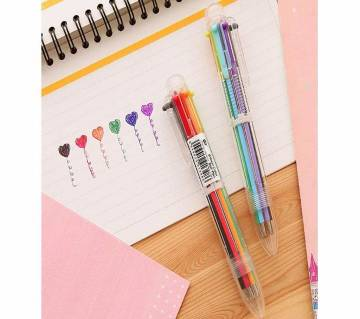 Cute 6 color Transparent rod multi function press ballpoint pen