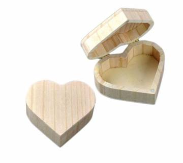 Love Heart Shape Useful Magnetic Full Wood Storage Jewelry Box