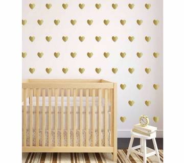 50pcs  Gold Color 4.7cm  Hearts Shape Creative Vinyl Wall Stickers For Home Decor