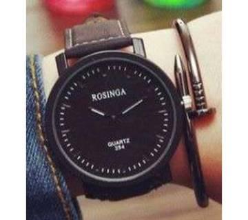 Leather Quartz Wrist Watch For Men