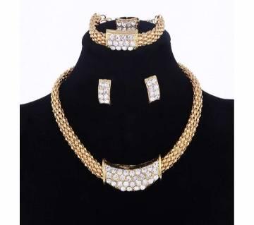 Classic Sqaure Shape Necklace Bracelet Earrings Ring Jewelry Sets