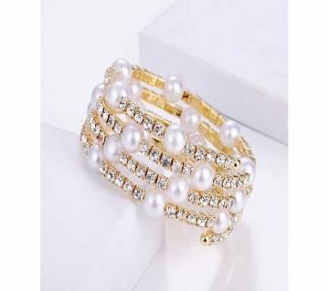 Adjustable Stainless Steel Multi-layer Imitation Crystal Pearl Bracelets