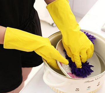 1 Pair Natural Latex Rubber  Washing Up Cleaning Gloves