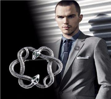 Snake Shape Metal  Brooch Pin For  Men