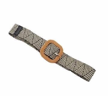 Elastic Girdle Wax Rope Weave Buckle Long Belts For Women