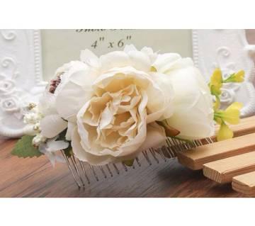 Fabric Rose Handmade Hair Comb  For Women