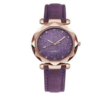 Starry Rhinestone Quartz Casual Leather Strap Wrist Watch  For Women