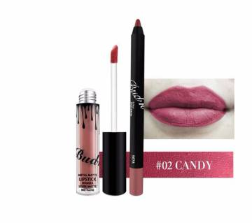 BUD K Lip Gloss +Lip Pencil 2PCS/SET  Waterproof  Long Lasting Liquid Matte Lipstick 18g China