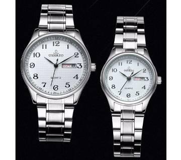 OSHRZO Luxury Stainless Steel Water Resistance Couple Watch