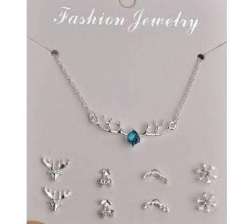 Necklace + 4 Stud Earrings Imitation Pearl Set