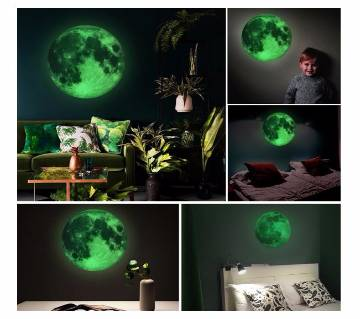 1PCS 20cm Diammeter Creative Glow in the Dark Full Moon Wall Stickers