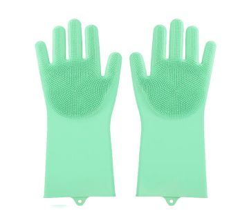 1 Pairs Magic Dish Washing Silicone Cleaning Gloves Kitchen Scrubber Rubber Gloves