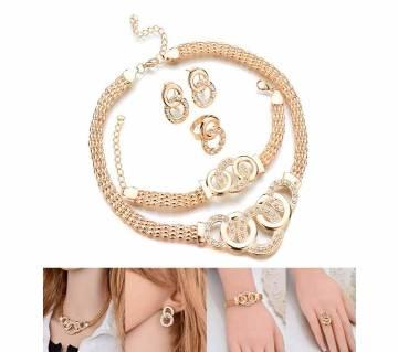Crystal Jewellery Set  (Necklace Earrings Ring Bracelet) for Women