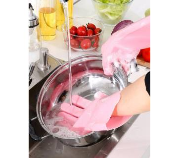 1 Pair Silicone Dishwashing Scrubber Dish Washing Sponge Rubber Kitchen Cleaning Gloves