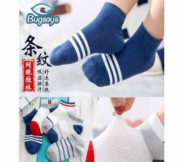 5 Pair/Set Pure Cotton Mesh Breathable  Short Socks For Children