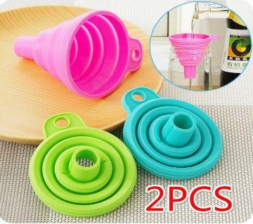 2PCS Silicone Folding Long Neck Liquid Dispensing Mini Funnel Kitchen Tools