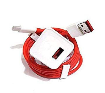 Dash Charger Oneplus 1+ 3 3T 5 5T with Type-C Cable - White and Red