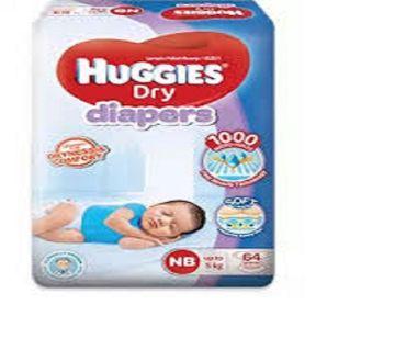 Huggies Belt Style Dry Diaper NewBorn( upto 5Kg) - 64 Pcs (Malaysia)