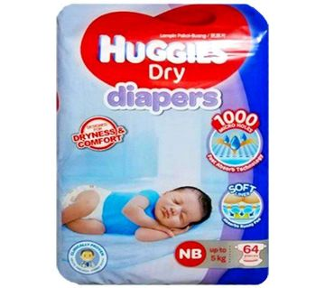 Huggies New Born Diaper- (Up to 5Kg)- Belt System- 64pcs- Malaysia